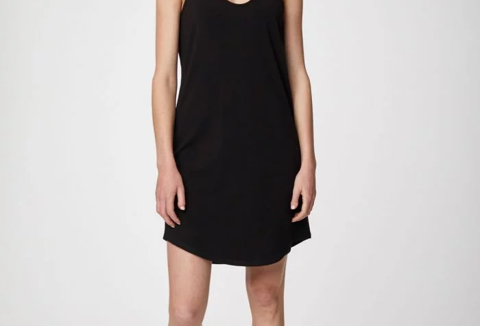 Hannah Bamboo Slip Dress In Black
