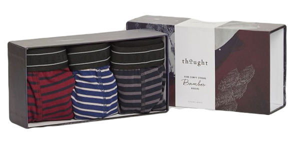 3 Pack Stripe Bamboo Boxer Briefs Gift Box