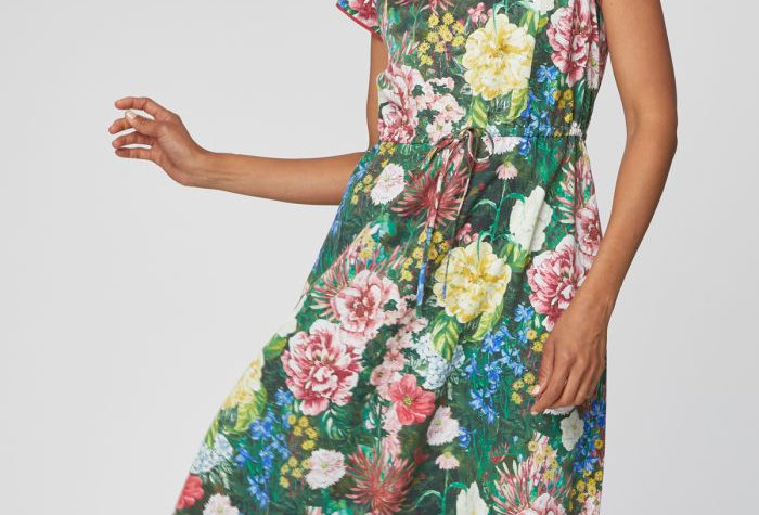 Leolani Unique Floral Print Midi Dress