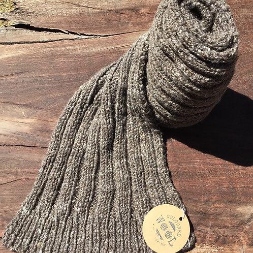 Naturally coloured Merino/ Corriedale and Suri Alpaca handknitted/ spun scarf