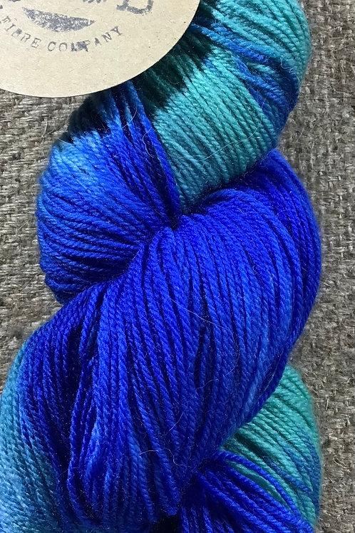 Shades of blue sock yarn 4 ply 100 g