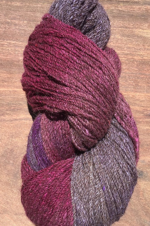 Steam dyed Shades of Magenta yarn 4 ply 100 grams