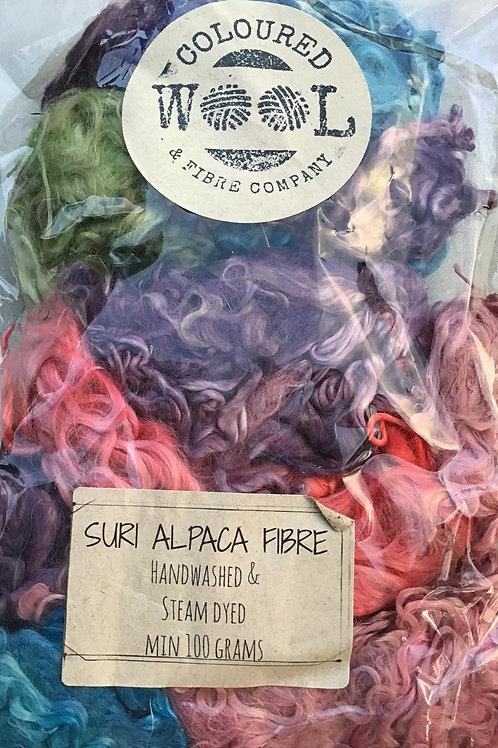 Steam dyed Suri fibre 100 grams mixed colours