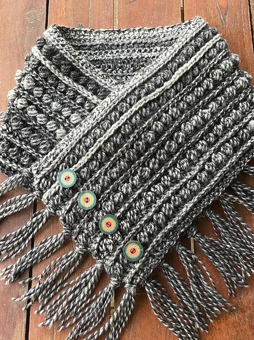Liquorice  Hand crocheted, pure wool neck hug
