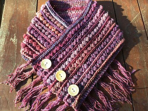 Hand crocheted raspberry tones pure wool neck warmer