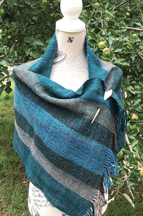 Blue hues handwoven shoulder wrap