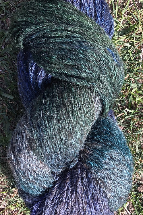 Blue hues steam dyed over a coloured wool blend