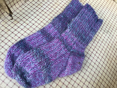 Handspun, hand-knitted and dyed Merino/ Suri socks