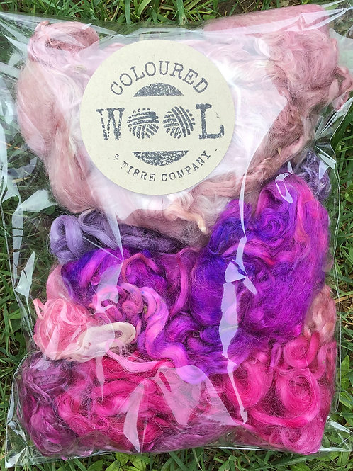 Pink and purples Suri fibre 100 g