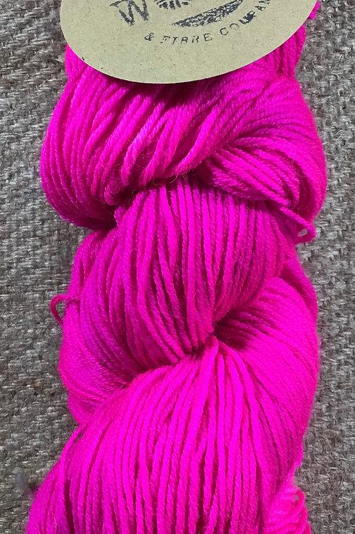 Steam dyed shocking pink Merino 4 ply 100 g