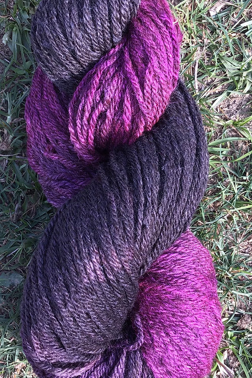 Purple passion- steam dyed over naturally coloured wool blend