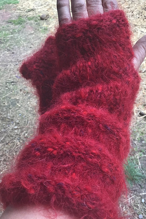 Red mohair hand warmers