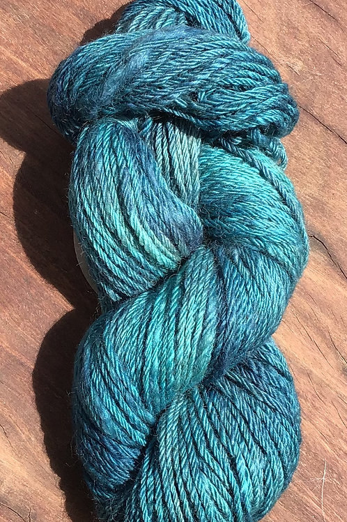Steam dyed over Moorit Corriedale and Mulberry silk 8 ply 100 grams