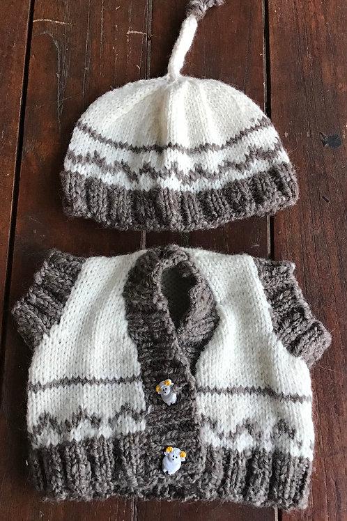 Children's vest and beanie set 3 months
