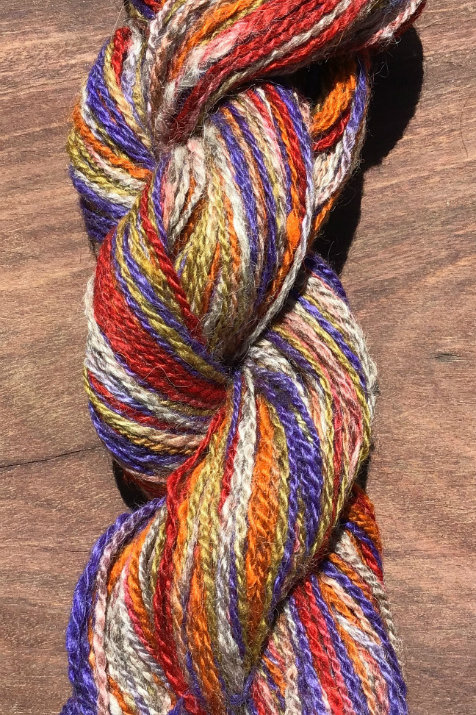 Jar dyed 5 coloured handspun blend 8 ply 100 g