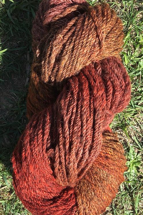 Hand dyed over naturally coloured Merino/ Corriedale & Suri blend- burnt orange