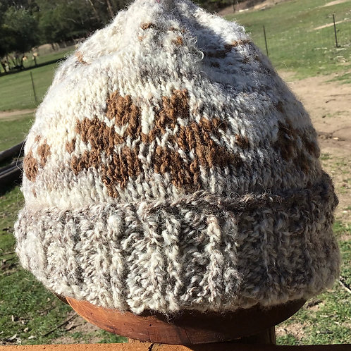 Handspun, Handknitted patterned beanie