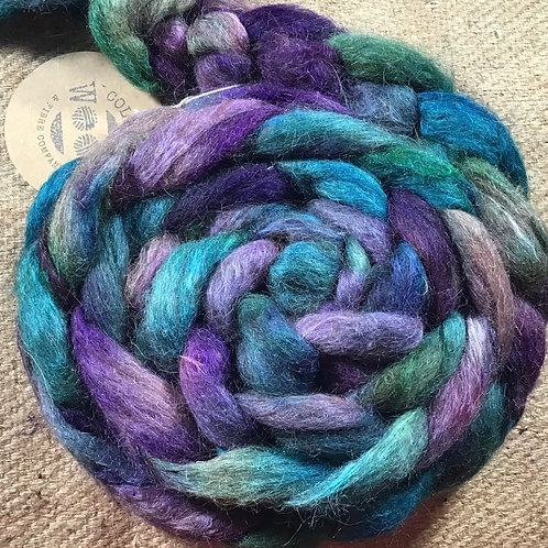 #249 steam dyed on our Corriedale and Huacaya and Suri alpaca blend 175 g