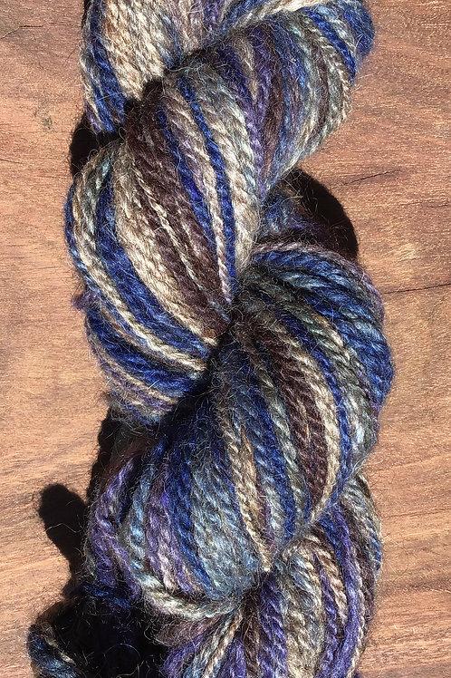 Jar dyed Multi blue tone handspun 8 ply 100 grams
