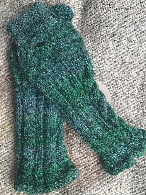 Green arm/ hand warmers