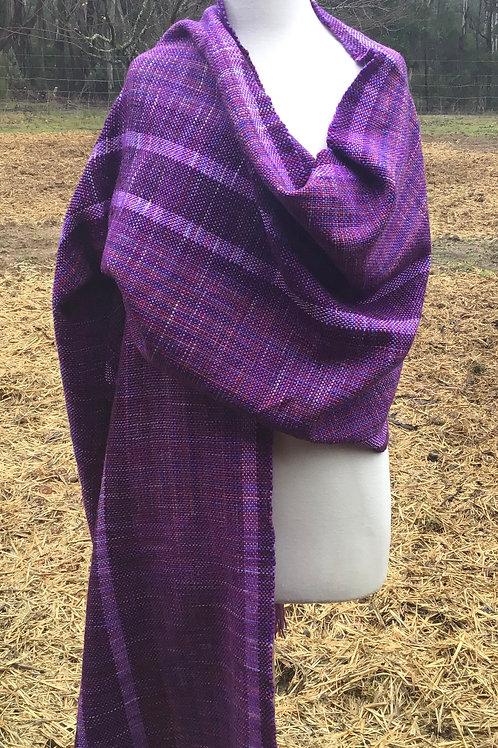 Handwoven, handdyed Merino/ Suri and bamboo wrap