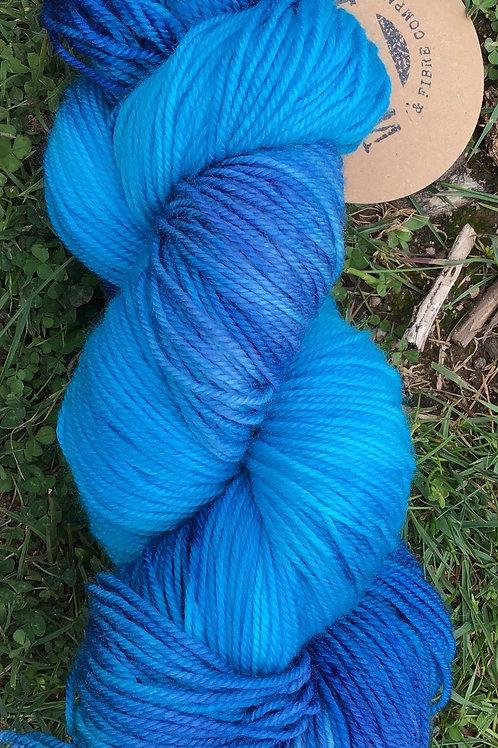 Electric blue Merino sock yarn