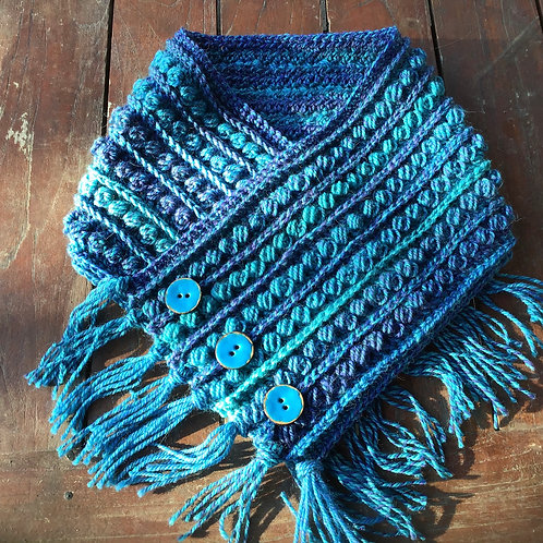 Hand crocheted neck warmer bright blues