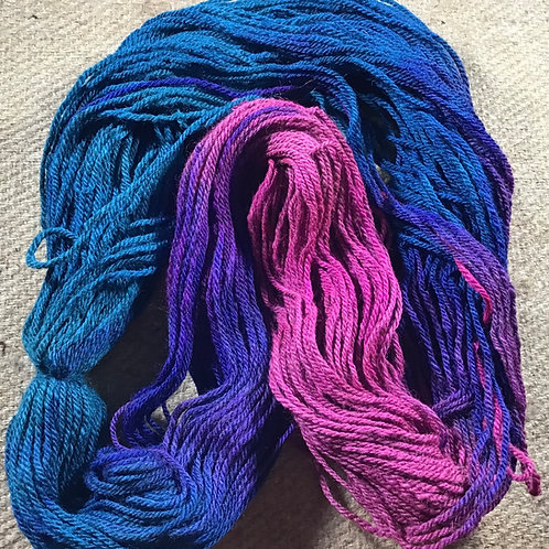 Peacock steam dyed on our Merino/ Corriedale blend 8 ply 100 g