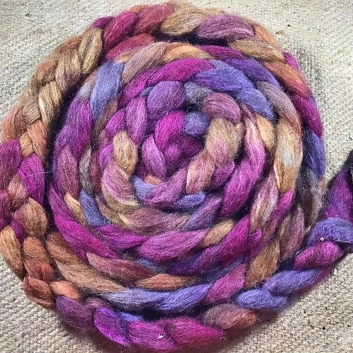 #242 steam dyed on merino/ Corriedale and Suri alpaca blend 110 g