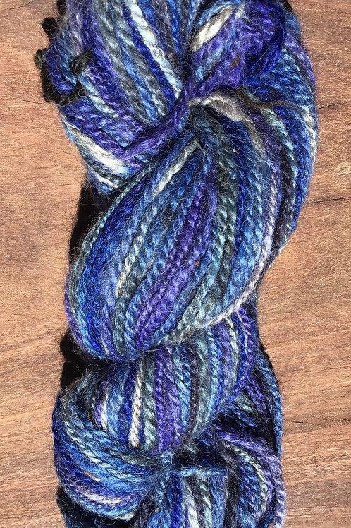 Jar dyed Blue toned handspun 8 ply 100 grams