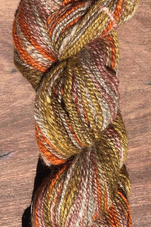 Jar dyed Multi Orange handspun 8 ply 100 grams