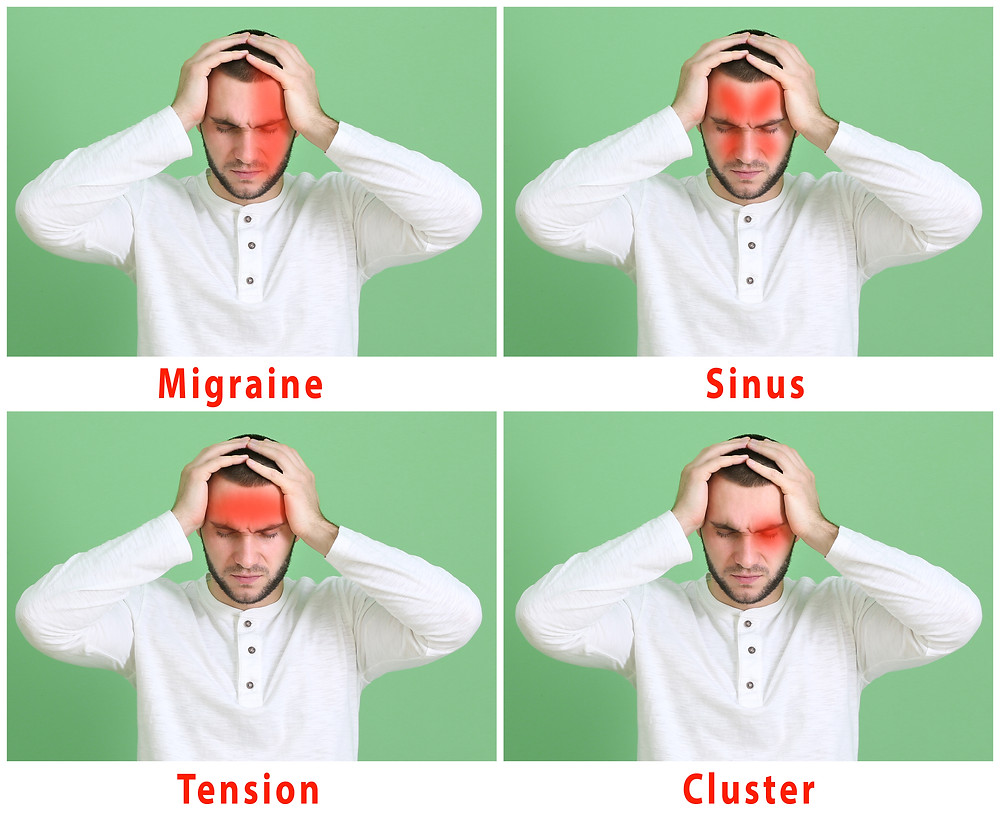 Young man experiencing different types of headaches - ones sided (migraine), sinus, tension and cluster