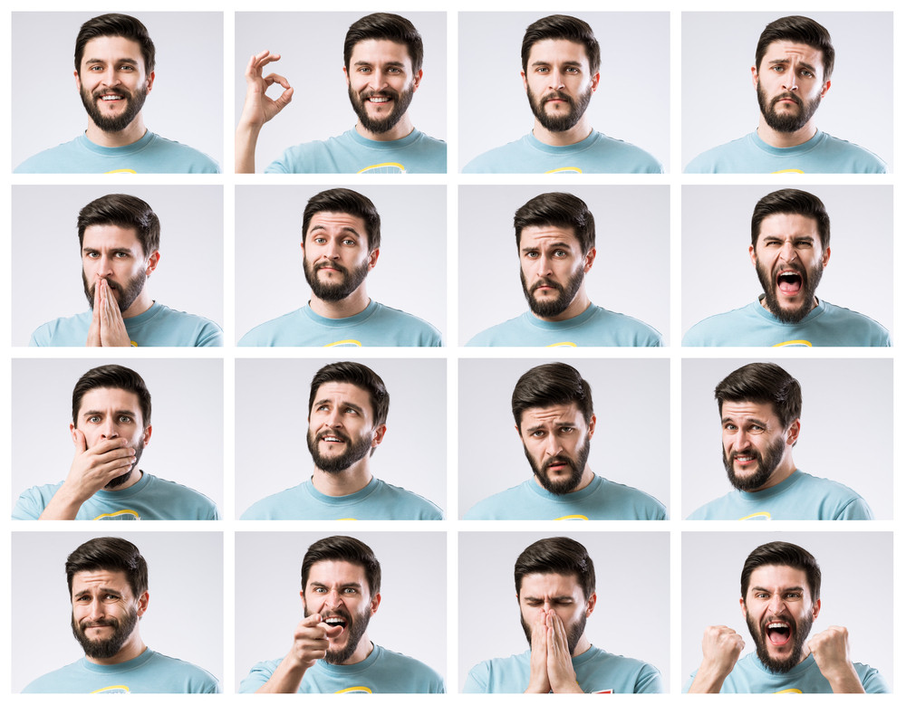Young bearded man displaying an array of different emotions