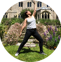 Acupuncturist Daria Masterman doing yoga warrior pose