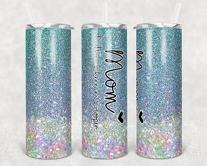 Mermaid Glitter Mom Heart Tumbler Add Your Own Names