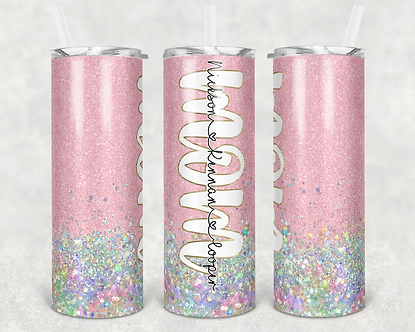 Pink Mom Tumbler Add Your Own Names