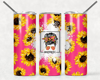 Mama Pink with Sunflowers Tumbler