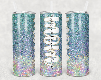 Mermaid Color Mom Tumbler Add Your Own Names