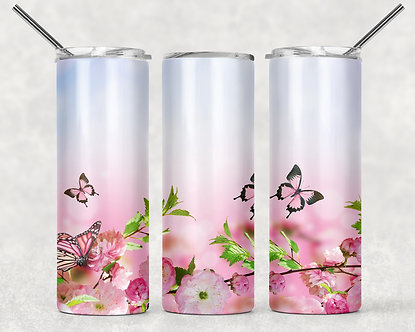 Pink Butterflies and Flowers