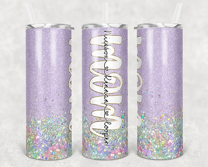 Lavender Mom Tumbler Add Your Own Names