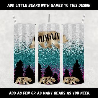 Gold Mama Bear with Baby Bears customizable Tumbler