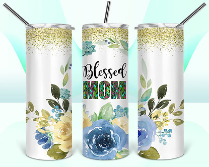 Floral Painted Blessed Mom Tumbler