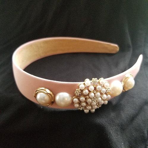 Pink Pearled Headband
