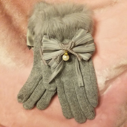 Bow-knot Fur gloves