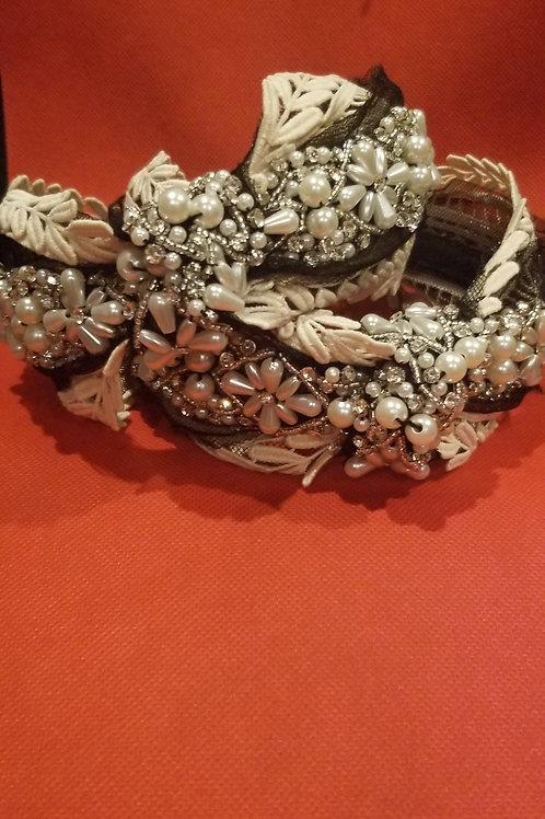 Embroidered Pearled Headband