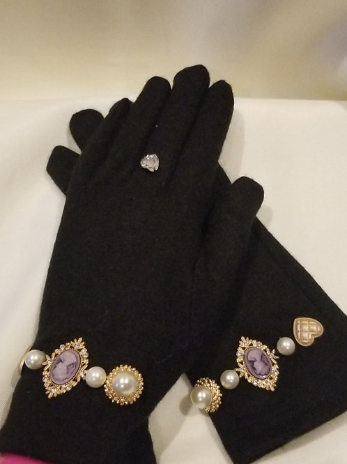 Pearl Jeweled Embellished Gloves