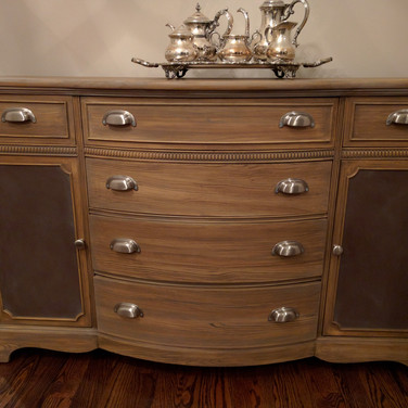 Painted faux wood on cabinet