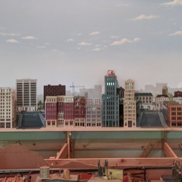 Model Train Cityscape Mural