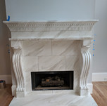Faux painted marble fireplace