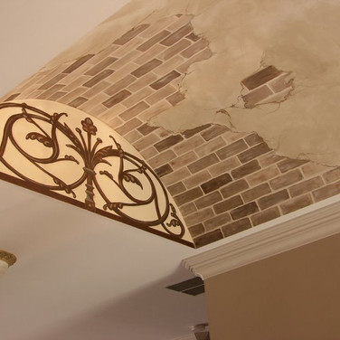 Scroll ceiling murals with brick